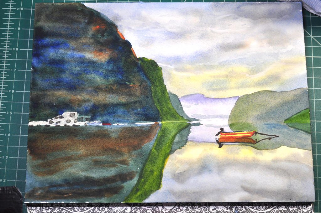 painting continues on the left hand side of the image, showing more land masses and lake reflections, also starting painting in the boat on the right hand side