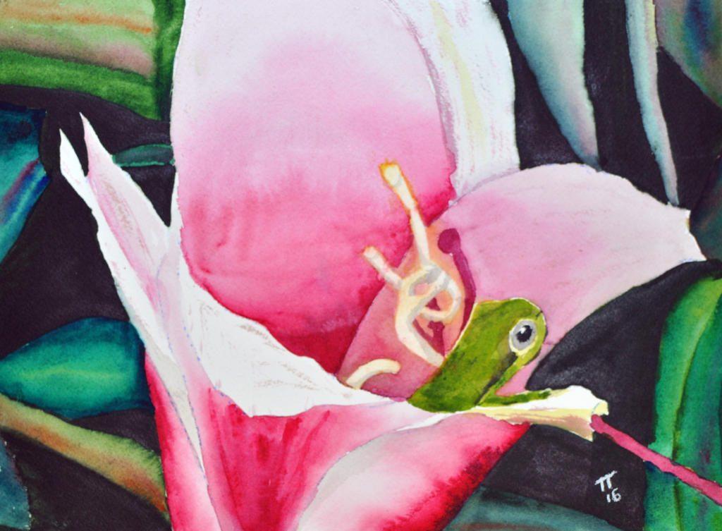 Frog in a Flower