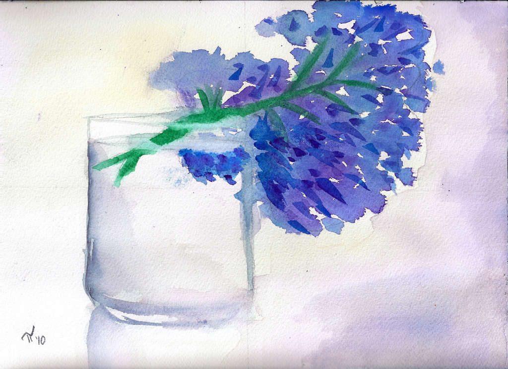 Glass Vase with Hydrangea